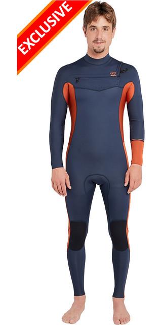 2018 Billabong Furnace Revolution 4/3mm Chest Zip Wetsuit Slate L44m50 Picture