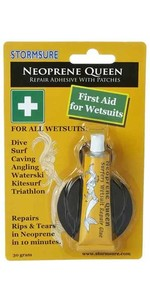 Neoprene Queen Glue quick fix 1st aid for wetsuits - GLUE + Neoprene Patches