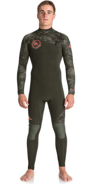 2018 Quiksilver Syncro Series 3/2mm Gbs Chest Zip Wetsuit Dark Ivy / Camo Eqyw103038 Picture