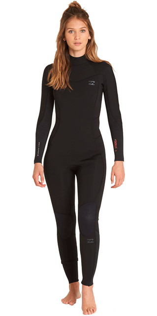2018 Billabong Womens Furnace Synergy 3/2mm Back Zip Wetsuit Black L43g04 Picture