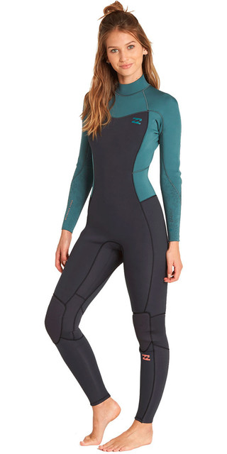 2018 Billabong Womens Furnace Synergy 3/2mm Back Zip Wetsuit Sugar Pine L43g04 Picture