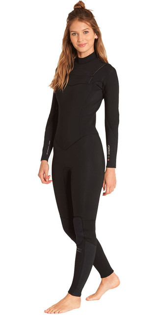 2018 Billabong Womens Furnace Synergy 3/2mm Chest Zip Wetsuit Black L43g03 Picture