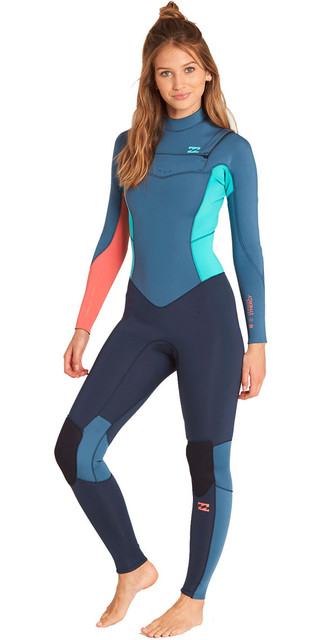 2018 Billabong Womens Furnace Synergy 3/2mm Chest Zip Wetsuit Slate L43g03 Picture