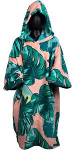 2019 TLS Junior Hooded Poncho / Change Robe Pink Leaf
