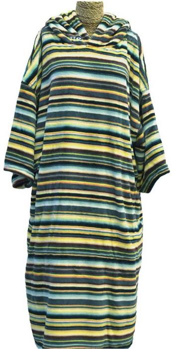 2021 TLS Junior Hooded Change Robe Poncho 140cm - Mexican Stripe