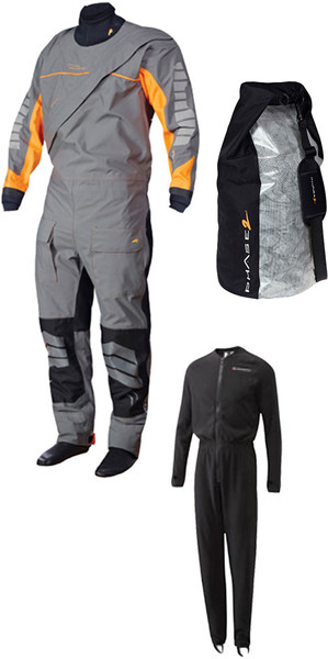 Crewsaver Junior J5 Phase 2 Drysuit Grey / Orange + UNDERSUIT & Drybag 6923