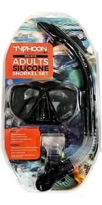 Typhoon Pro Adult Silicone Mask & Snorkel Set 320384 - Black