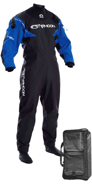 2018 Typhoon Hypercurve 3 Back Zip Drysuit with Socks Black / Blue Including Walrus Bag 100155