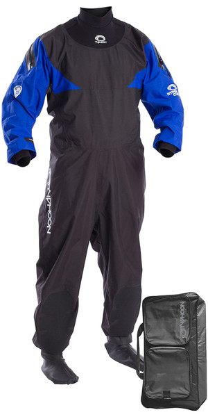 2018 Typhoon Hypercurve 4 Back Zip Drysuit with Socks Black / Blue Including Walrus Bag 100169