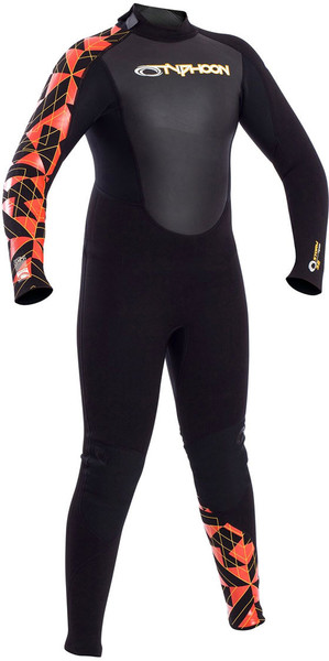 2018 Typhoon Junior Storm 3/2mm Flatlock Back Zip Wetsuit Black / Orange 250923