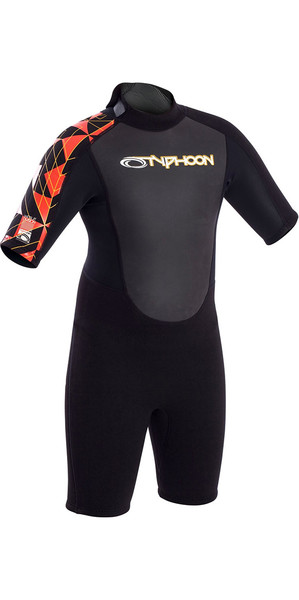 2018 Typhoon Junior Storm 3/2mm Flatlock Shorty Black / Orange 250933