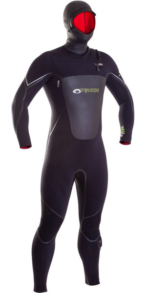 5b395ae0ceea 2019 Typhoon Hooded Kona 6 5 4mm GBS Chest Zip Wetsuit BLACK 250615 Typhoon