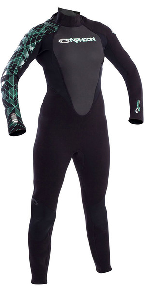 2018 Typhoon Ladies Storm 3/2mm Back Zip Wetsuit Black / Aqua Green 250883