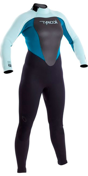 2018 Typhoon Womens Vortex 5/4/3mm GBS Back Zip Wetsuit Black / Glacier Blue / Spruce 250682