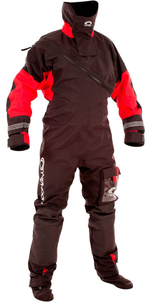 2018 Typhoon Max B Drysuit With Con Zip Black / Red 100168