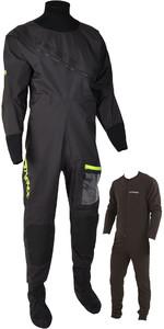 2020 Typhoon Mens Ezeedon 4 Front Zip Drysuit & Free Underfleece 100174 - Black