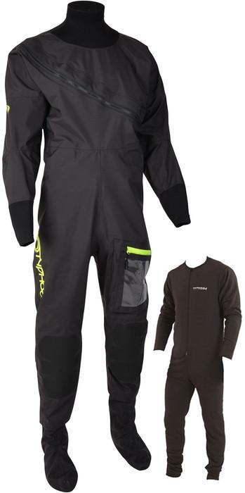 2021 Typhoon Mens Ezeedon 4 Front Zip Drysuit & Free Underfleece 100174 - Black