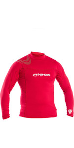 2019 Typhoon Mens Long Sleeve Rash Vest Rich Red 430012