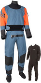 2020 Typhoon Multisport 5 Rapid Drysuit with Convenience Zip & Free Underfleece 100181 - Teal / Orange