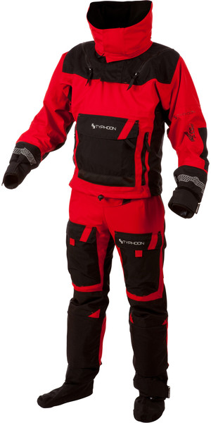 2018 Typhoon PS330 Extreme Kayak / Ocean Drysuit + Con Zip Black / Red 100151