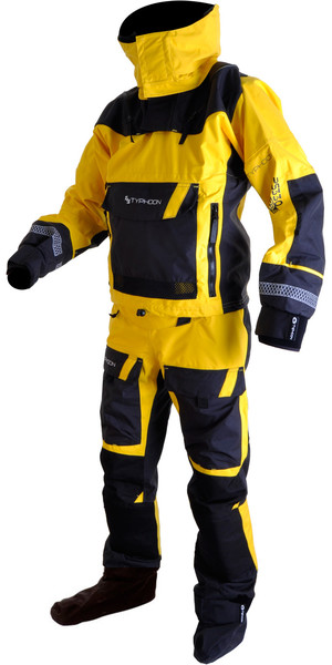 2018 Typhoon PS330 Kayak / Ocean Drysuit + Con Zip Yellow / Black 100160