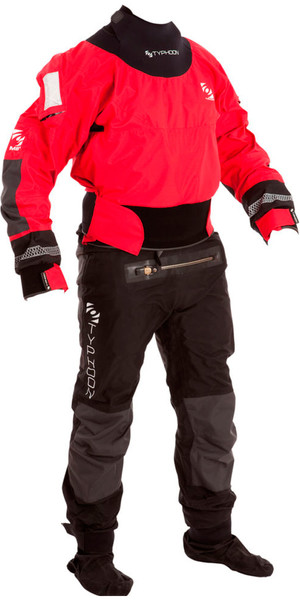 2018 Typhoon Multisport 4 Four Drysuit + Con Zip Red / Black 100140
