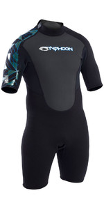 2019 Typhoon Storm 3/2mm Shorty Wetsuit Black / Blue 250793