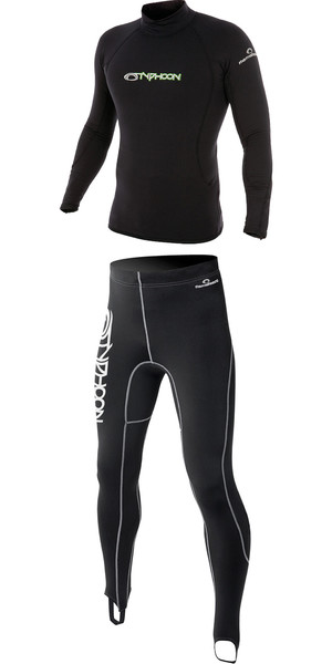 2018 Typhoon ThermaFleece Long Sleeve Top & Trouser Combi Black