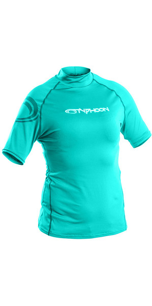 2018 Typhoon Junior Short Sleeve Rash Vest Aqua Green 430075