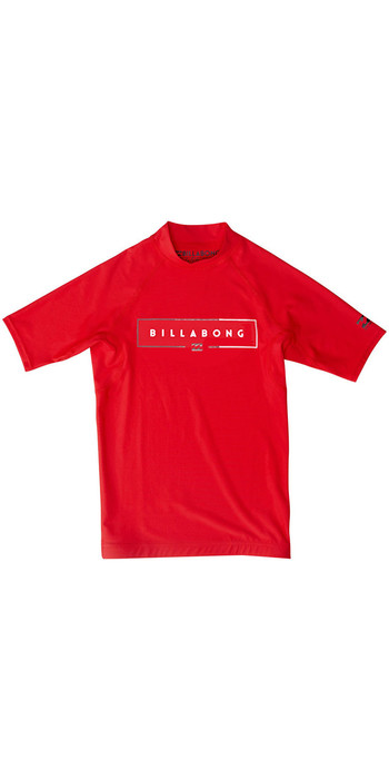 2020 Billabong Junior Boys Unity Short Sleeve Rash Vest S4KY21 - Red