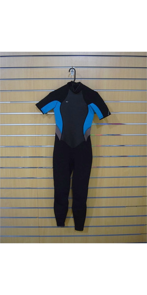 2018 O'Neill Womens Bahia 2/1mm Back Zip Shorty Wetsuit BLACK / PEPPER / AQUA SECOND