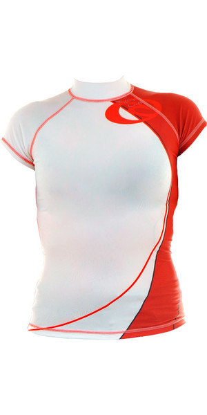 Rip Curl Core Team Womens Capped Short sleeved Rash Vest White / Red W7302W