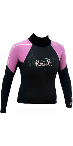 Rip Curl Classic womens 0.5mm Long Sleeve Hotskin Vest Black / Pink W8266W