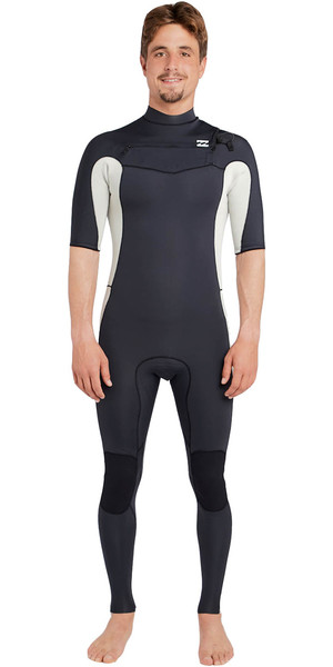 2018 Billabong Revolution DBAH 2mm Chest Zip Short Sleeve Wetsuit WHITE SAND H42M17