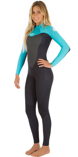 2018 Rip Curl Womens Omega 4/3mm Gbs Back Zip Wetsuit Black / Turquoise Wsm4cw Picture