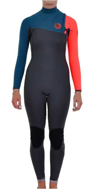 Rip Curl Womens G-bomb 3/2mm Gbs Zip-free Wetsuit Charcoal / Orange Wsm4hg Picture