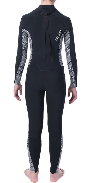 2019 Rip Curl Junior Girls Dawn Patrol 4/3mm GBS Back Zip Wetsuit Black / White WSM8BS