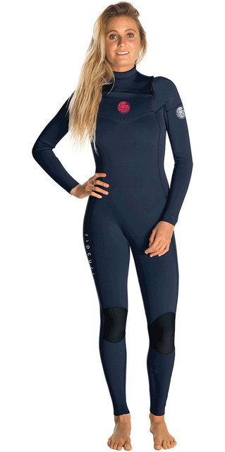 2018 Rip Curl Womens Dawn Patrol 3/2mm Gbs Chest Zip Wetsuit Navy Wsm8kw Picture