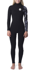 2019 Rip Curl Womens G Bomb 4/3mm Zipperless Wetsuit Black / White WSM8IG