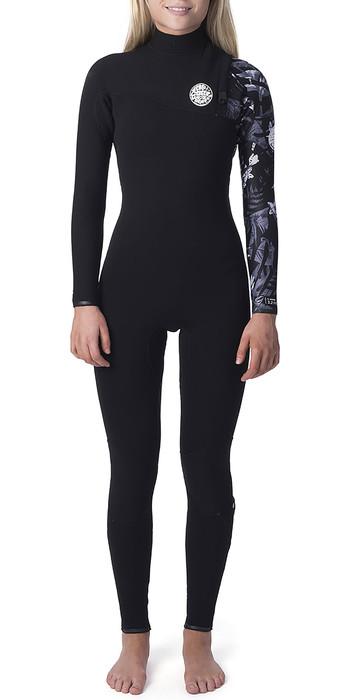 2020 Rip Curl Womens G Bomb 3/2mm Zipperless Wetsuit Black / White WSM8KG