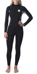 2019 Rip Curl Womens Dawn Patrol 4/3mm Chest Zip Wetsuit Black / Black WSM9BS