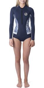 2019 Rip Curl Womens G-Bomb Searchers 1mm Long Sleeve Shorty Wetsuit Dark Blue WSP7LW