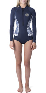 2019 Rip Curl Womens G-Bomb Searchers 1mm Long Sleeve Shorty Wetsuit Dark Blue WSP7LW
