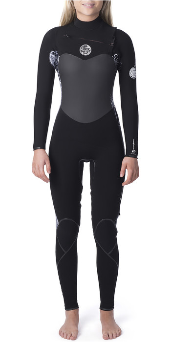 2020 Rip Curl Womens Flashbomb 3/2mm Chest Zip Wetsuit Black / White WST9ES