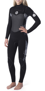 2020 Rip Curl Womens Flashbomb 4/3mm Chest Zip Wetsuit Black / White WST9FS
