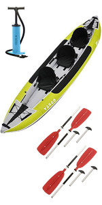 2020 Z-Pro Tango 3 Man Inflatable Kayak TA300 GREEN & 2 PADDLES & Stirrup Pump
