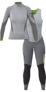 2020 Zhik Womens Superwarm X 3/2mm Neoprene Top & Skiff Long John Wetsuit Combi-Set Grey