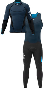 Zhik Mens Microfleece V 1mm Neoprene Top & Zhik Microfleece V Skiff Long John Wetsuit Combi-Set Navy