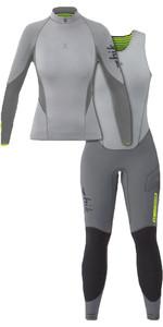 2020 Zhik Womens Superwarm X 3/2mm Neoprene Top & Skiff Long John Wetsuit Combi-Set Grey