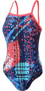 2021 Zone3 Womens Aztec 2.0 Strap Back Swimming Costume SW18WAZ - Navy / Red / Blue